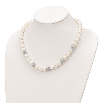 Sterling Silver Majestik Rhod-plated 10-11mm Shell Crystal Necklace