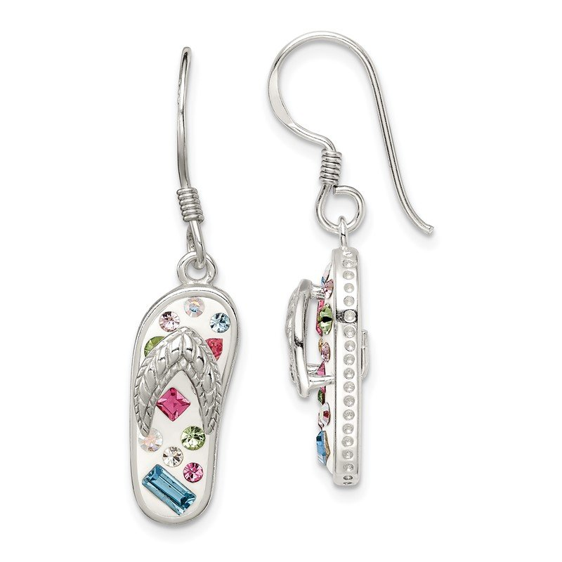 Quality Gold Sterling Silver Stellux Crystal Multi-Color/White Flip Flop Earrings
