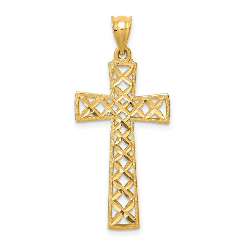 Quality Gold 14K Polished & D/C Cross Pendant