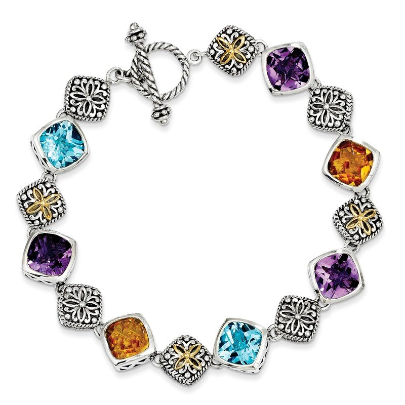 Shey Couture Sterling Silver w/14k Multi Gemstone Bracelet