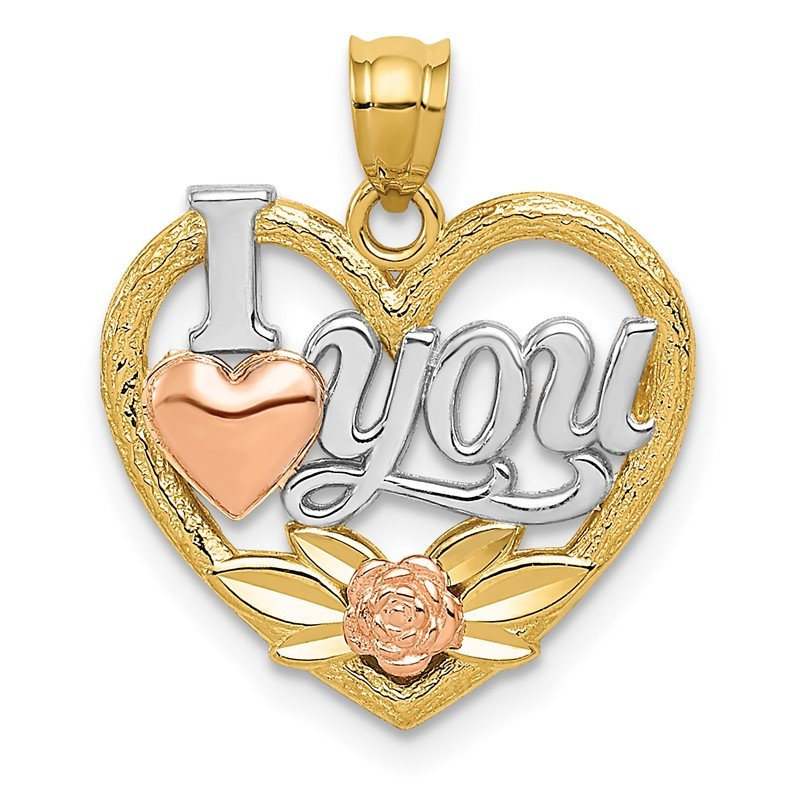 Quality Gold 14k Two-tone w/White Rhodium I LOVE YOU Heart Pendant