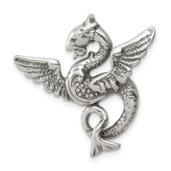 Sterling Silver Antiqued Dragon Charm