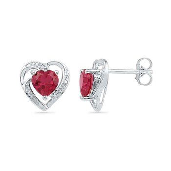 10kt White Gold Womens Round Lab-Created Ruby Heart Love Earrings 3/8 Cttw