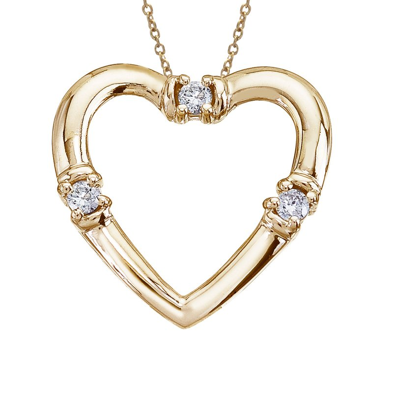 14K Yellow Gold and Diamond Open Heart Pendant