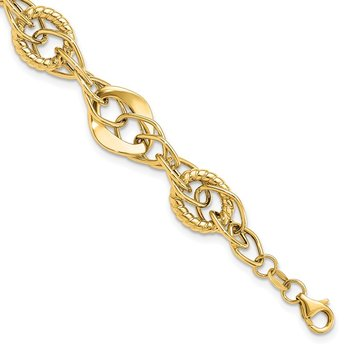 14k Gold Polished Textured Fancy Link Bracelet
