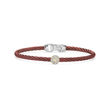 Burgundy Cable Essential Stackable Bracelet with Single Round Diamond station set in 18kt Yellow Gold