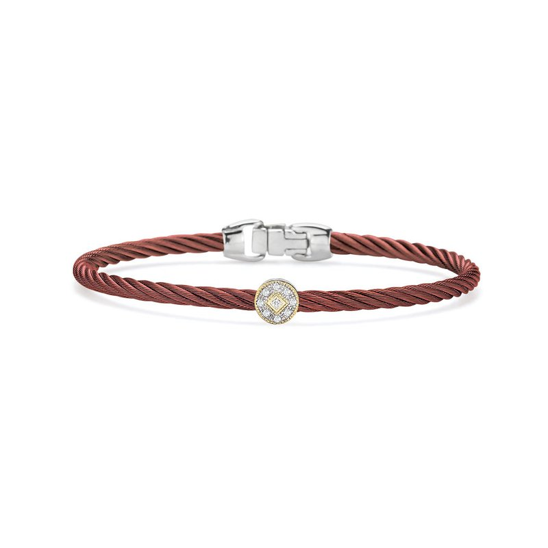 ALOR Burgundy Cable Essential Stackable Bracelet with Single Round Diamond station set in 18kt Yellow Gold