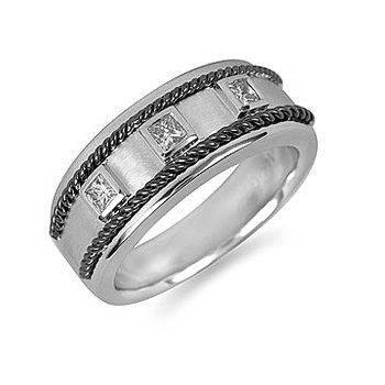 925 SS &  Dia Men's Ring in Black Rhod Rope Design