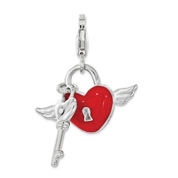 Sterling Silver Enameled w/Swarovski Red Heart w/ Key Lobster Clasp Charm