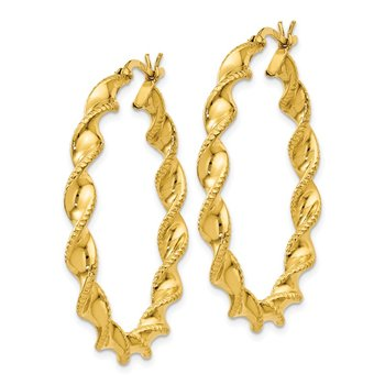 Sterling Silver Gold-flashed Patterned Twist 4x35mm Hoop Earrings