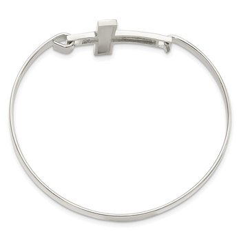 Sterling Silver Polished Cross Flexible Bangle