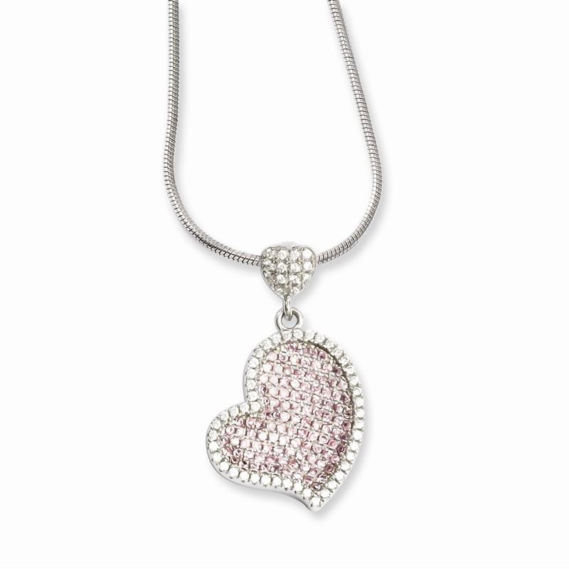 2 Extender Brilliant Embers Sterling Silver Rhodium-plated Black Spinel /& CZ Leaf Pendant Necklace 18