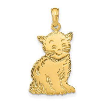 14k Polished Cat Charm