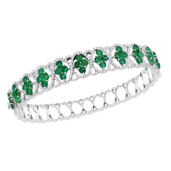 18kt White Gold Womens Round Emerald Diamond Bangle Bracelet 1-3/8 Cttw