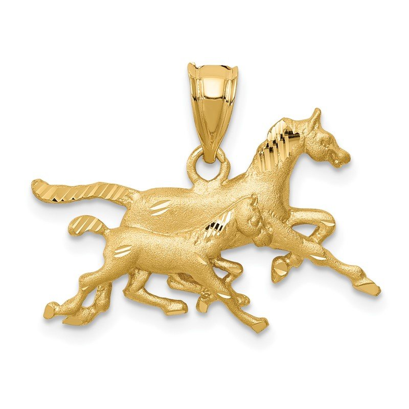 Quality Gold 14K Brushed & Diamond-cut Running Horses Pendant