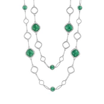 Cascading Gem Necklace featuring Clear Quartz over Green Onyx