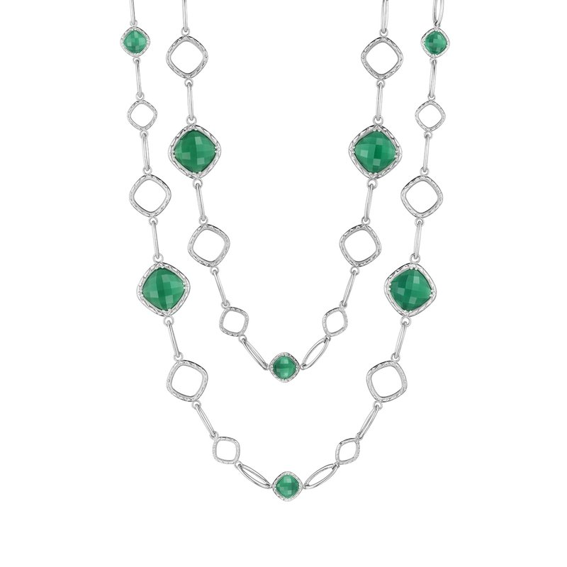 Tacori Fashion Cascading Gem Necklace featuring Clear Quartz over Green Onyx