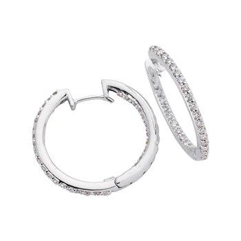 Diamond Hoop Earring 1.0 Inch