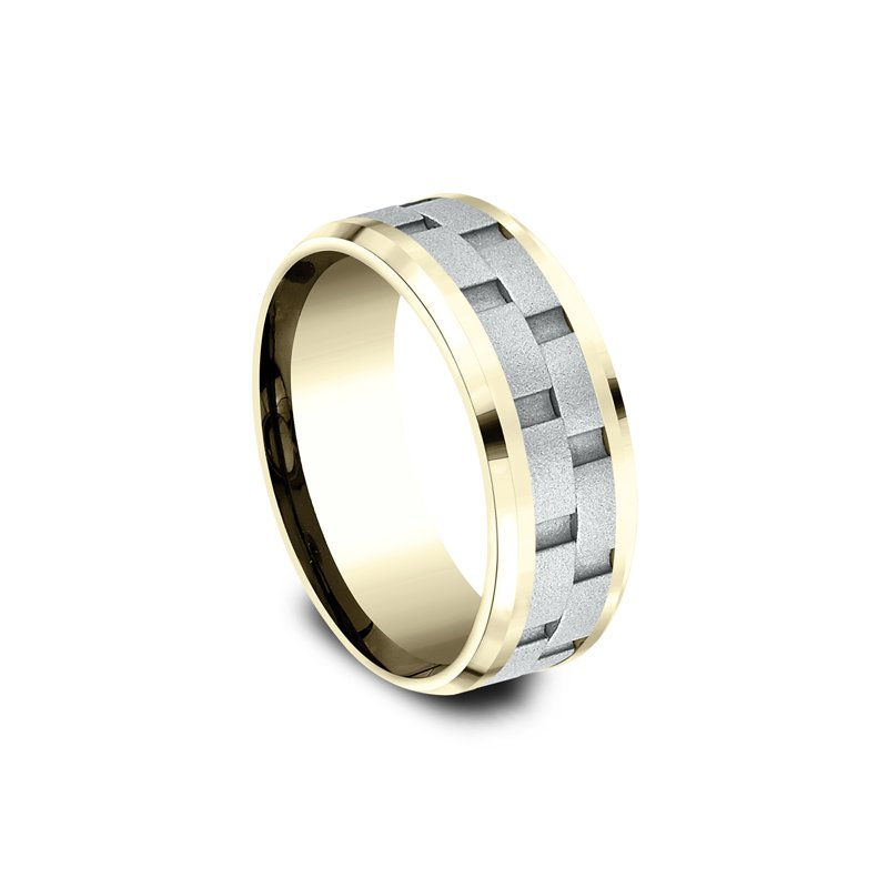 Benchmark Two-Tone Comfort-Fit Design Wedding Ring