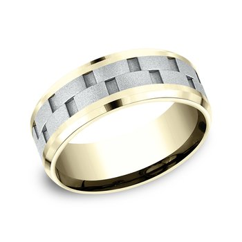 Two-Tone Comfort-Fit Design Wedding Ring