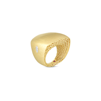 18K YW GOLDEN GATE SATIN WIDE SQUARE TOP RING W. DIAMOND ACCENT