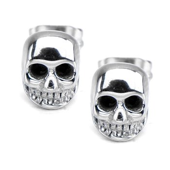 Polished Finished Skull Stud Earrings