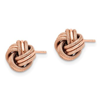 Leslie's 14k Rose Gold Knot Polished D/C Post Earrings