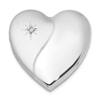 Sterling Silver Rhodium-plated Dia. Satin Polish 4 Picture Family Heart Loc