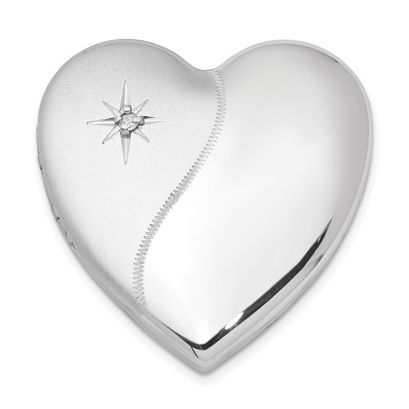 Quality Gold Sterling Silver Rhodium-plated Dia. Satin Polish 4 Picture Family Heart Loc