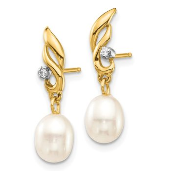 14K 5-6mm White Rice FW Cultured Pearl .02ct Diamond Dangle Earrings