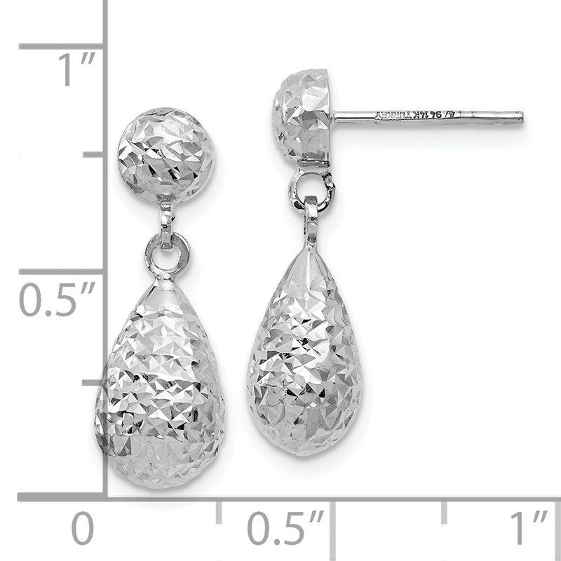 Leslie's Leslie's 14K White Gold D/C Post Dangle Earrings