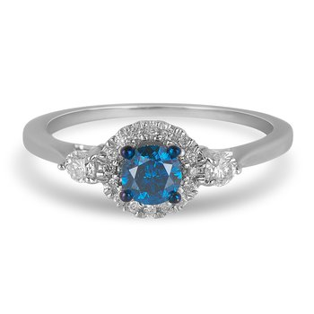 14K WG Diamond Round Halo Ring with Blue Center