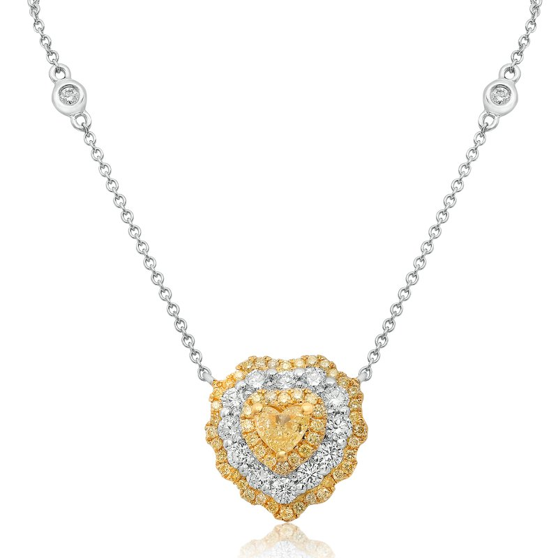 Roman & Jules Heartshaped Triple Halo Diamond Necklace