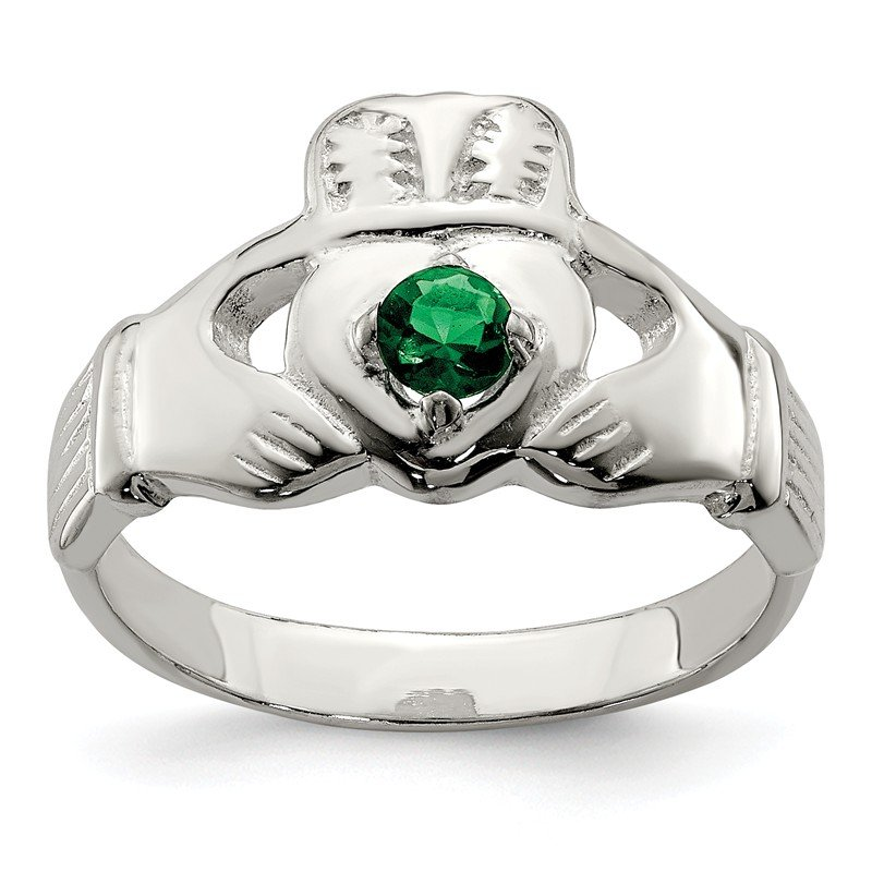 Quality Gold Sterling Silver Green CZ Claddagh Ring