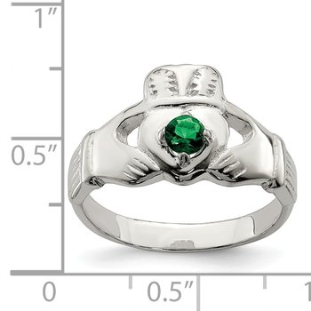 Sterling Silver Green CZ Claddagh Ring