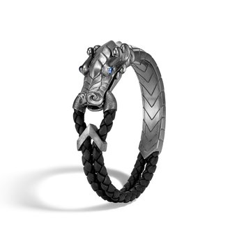 Legends Naga Bracelet in Blackened Silver with Leather