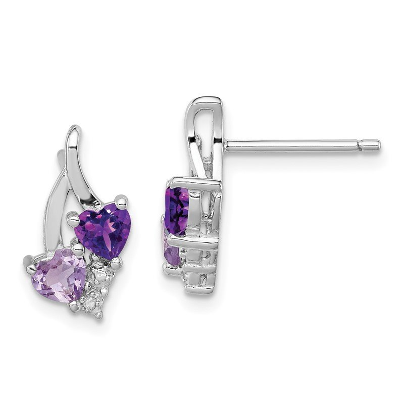 Quality Gold Sterling Silver Rhodium-plated Amethyst & Pink Quartz & Diamond Earrings