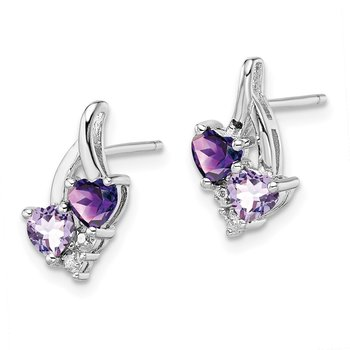 Sterling Silver Rhodium-plated Amethyst & Pink Quartz & Diamond Earrings