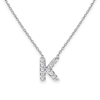 Diamond Bitty Block Initial K NecklaceB