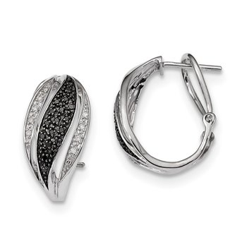 Sterling Silver RP Black and White Diamond Omega Back Post Earrings