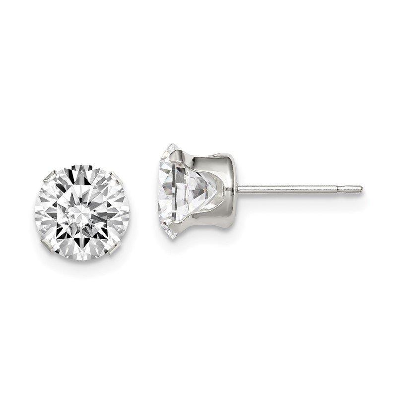 Quality Gold Sterling Silver 7mm Round Snap Set CZ Stud Earrings