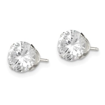 Sterling Silver 7mm Round Snap Set CZ Stud Earrings