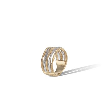 Marrakech Onde Collection Yellow Gold and Diamond Five Row Band