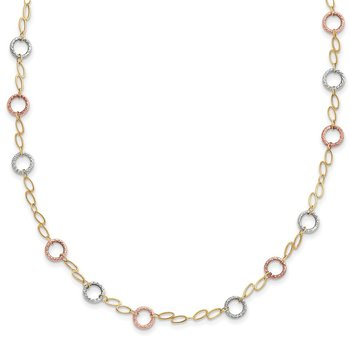 14k Tri-color Circles Necklace