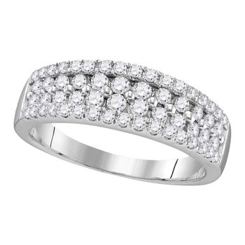 10kt White Gold Womens Round Pave-set Diamond Double Two Row Band Ring 1.00 Cttw