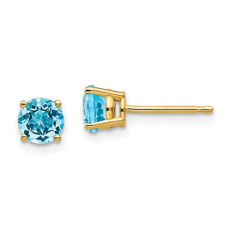Quality Gold 14k 5mm Blue Topaz Earrings