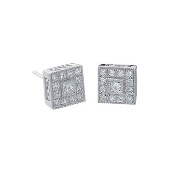 White Gold & Diamond Pave Square Stud Earrings