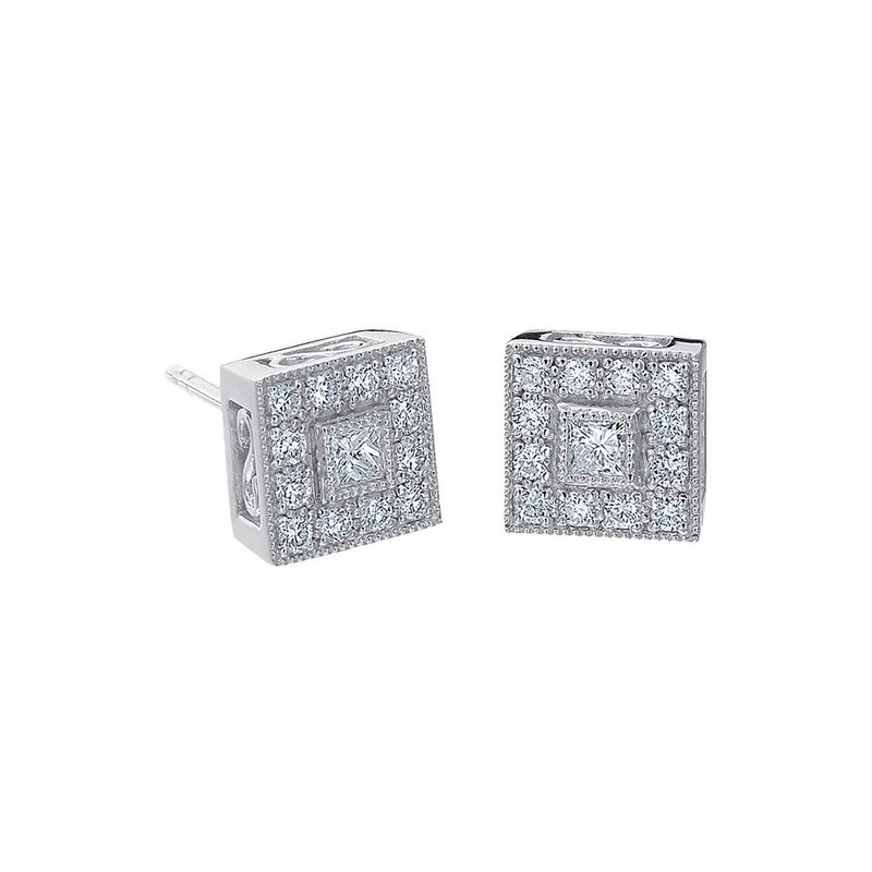 ALOR White Gold & Diamond Pave Square Stud Earrings