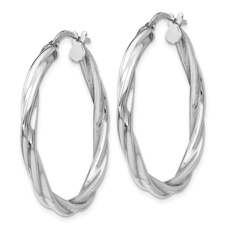 Leslie's Leslie's Sterling Silver Polished Twisted Hinged Hoop Earrings