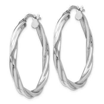 Leslie's Sterling Silver Polished Twisted Hinged Hoop Earrings